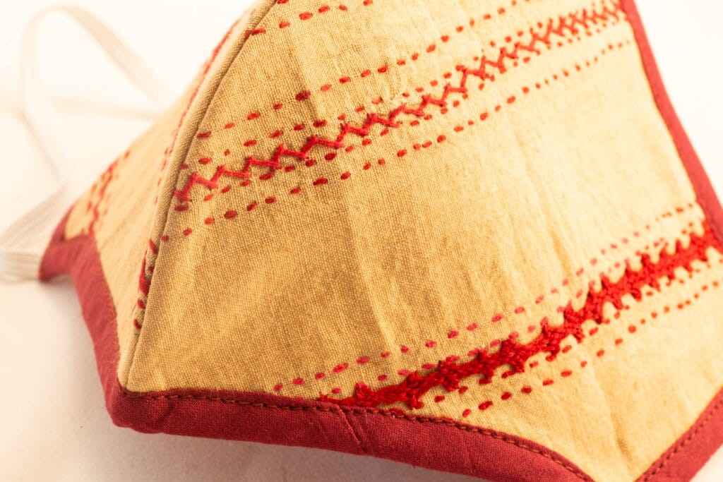 RA Studio Designer Cloth Mask Mangalgiri Mustard With Hints Of Red Embroidery Work