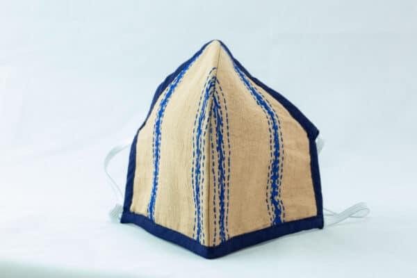 RA Studio Designer Cloth Mask Mangalgiri Mustard With Hints Of Blue Embroidery Work