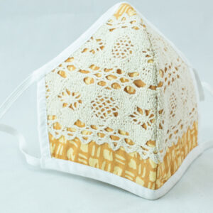 RA Studio Designer Lace Cotton Mask. Lace is stitched on top of the Block Printed Mask