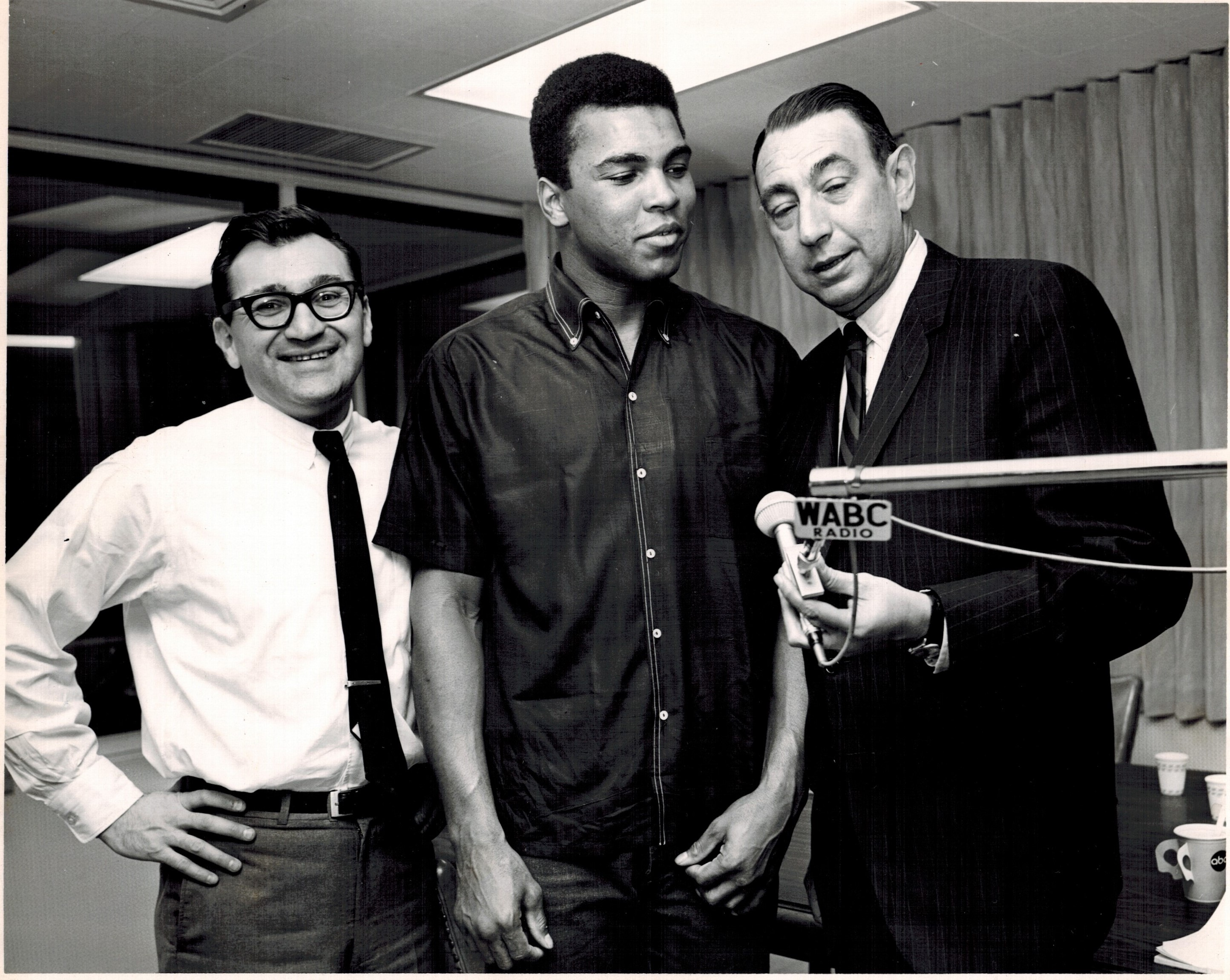 Muhammad Ali and Howard Cosell spend some time with Rick Sklar in the Musicradio WABC studios.