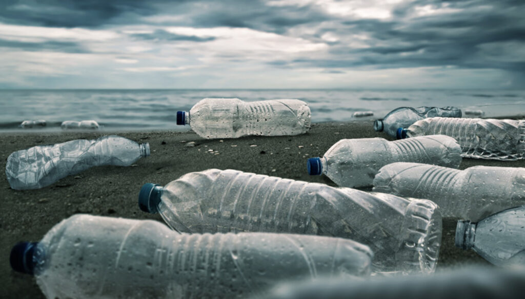Plastic water bottles pollution in ocean Environment concept bioplastics