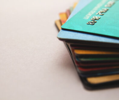 bioplastic Biodegradable Plastic Cards stack of bright colorful discount plastic cards, close up view, horizontal background with copy space