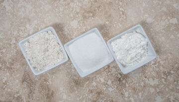 bio-plastic Flour, Sugar, and Corn Starch in Bowls