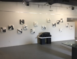 installation image of Choke II, Series X and Containment in Edge of the Continent exhibition at the Glynn Visual Arts Center