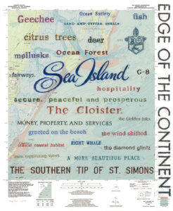 Blue Giclee print of Sea Island wax oil rubbing on map