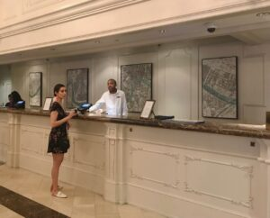 ceramic map installed in New Orleans hotel lobby