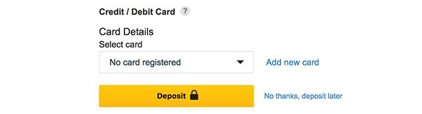 Betfasir Deposit at end of registration