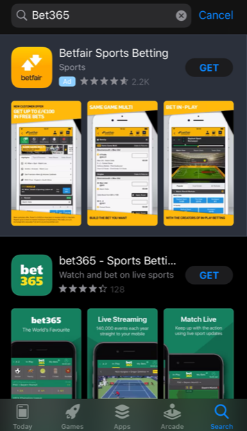 Bet365 Search - App Store Results