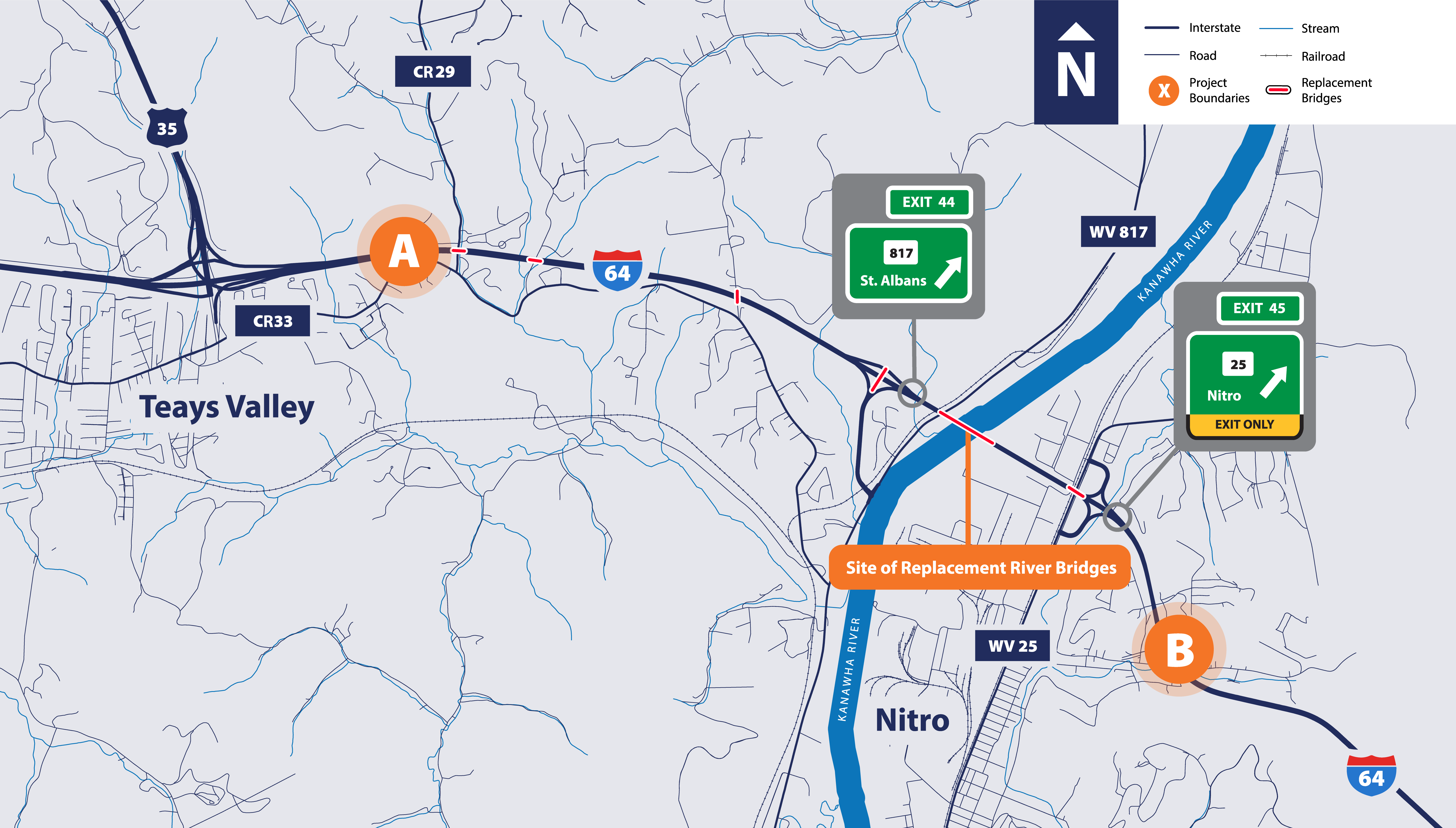 1-64 Improvement Project North Bound Project Area Map