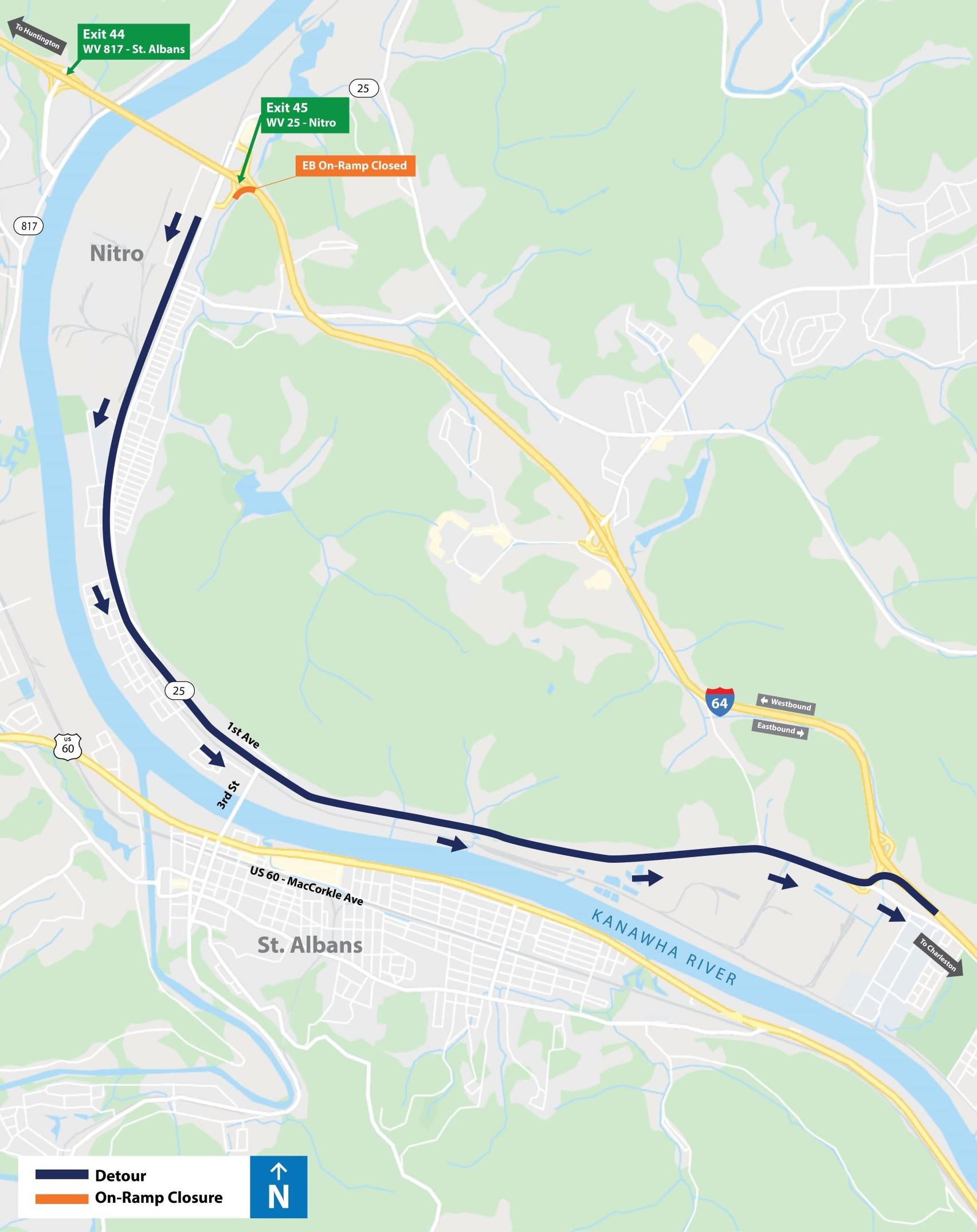 Nitro Eastbound On-Ramp Detour