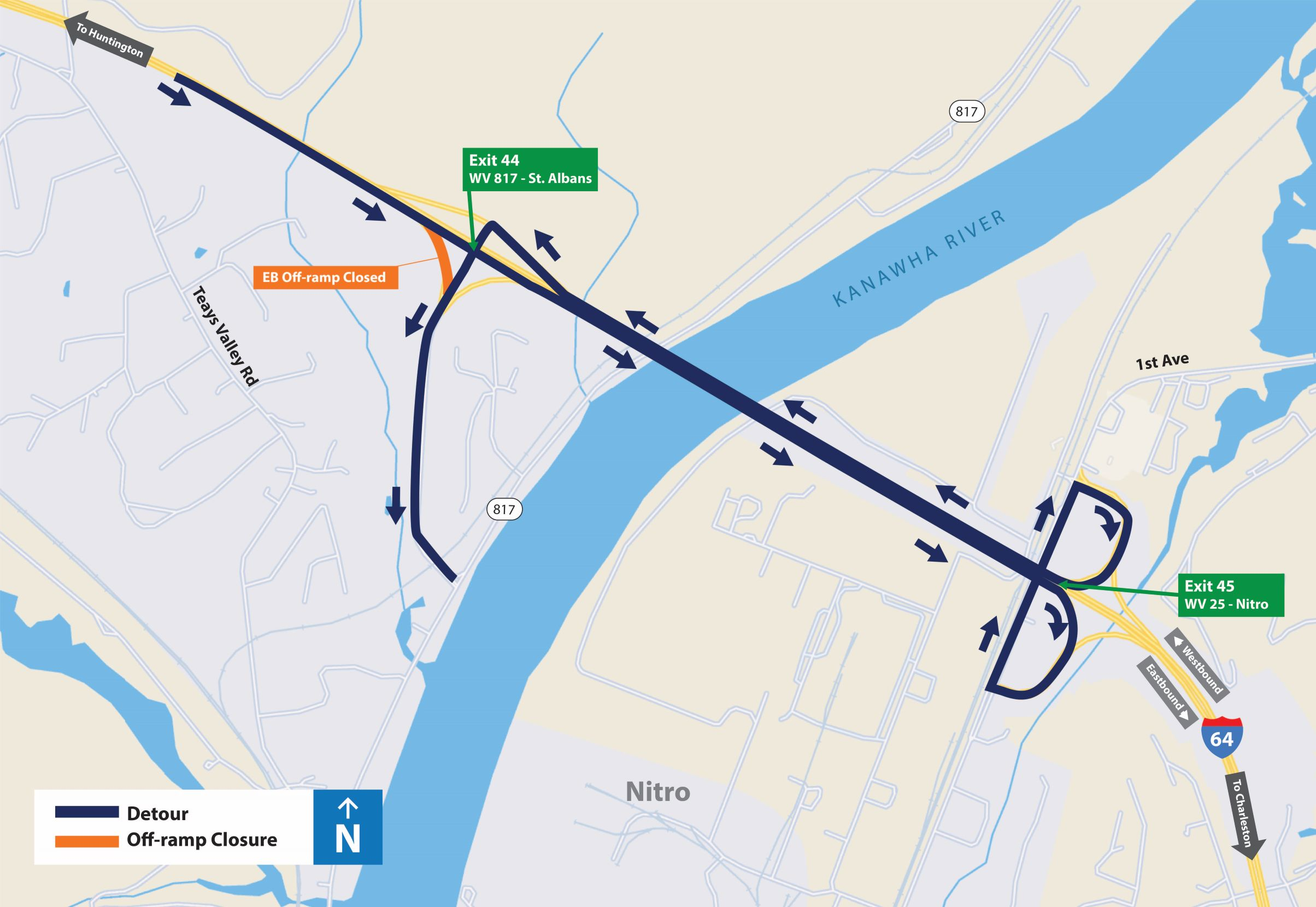 St. Albans Eastbound Off-Ramp Detour