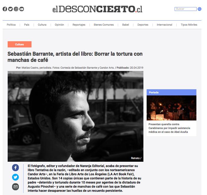 Entrevista de Matías Castro a Sebastián Barrante, autor de 'Tentativa de la razón'