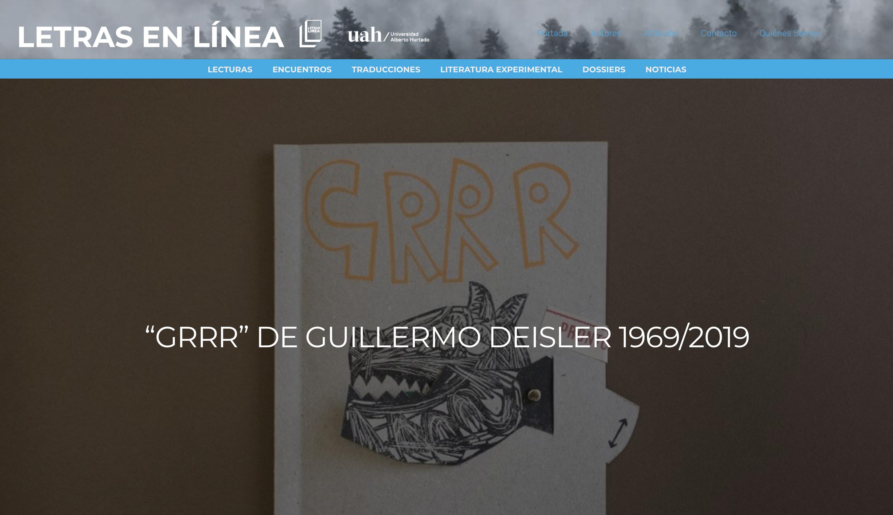 Reseña: 'Grrr' de Guillermo Deisler en Letras en Línea
