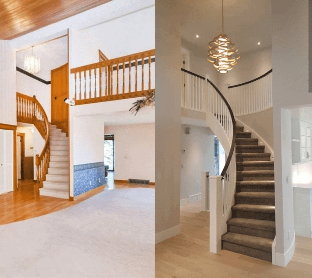 Coach Manor Estates staircase before and after