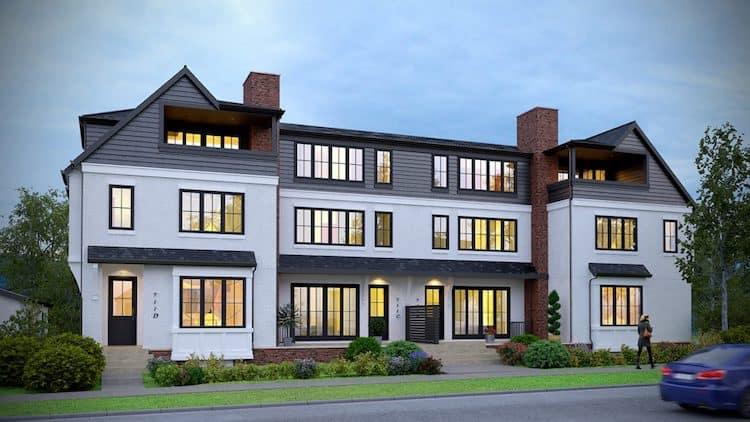 West Hillhurst Row House front exterior residential design