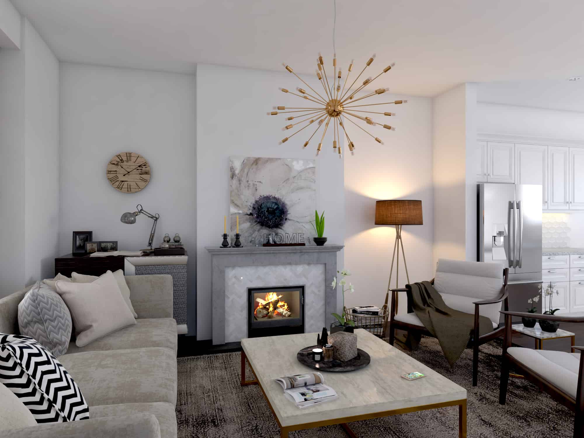 West Hillhurst Rowhouse custom design living room