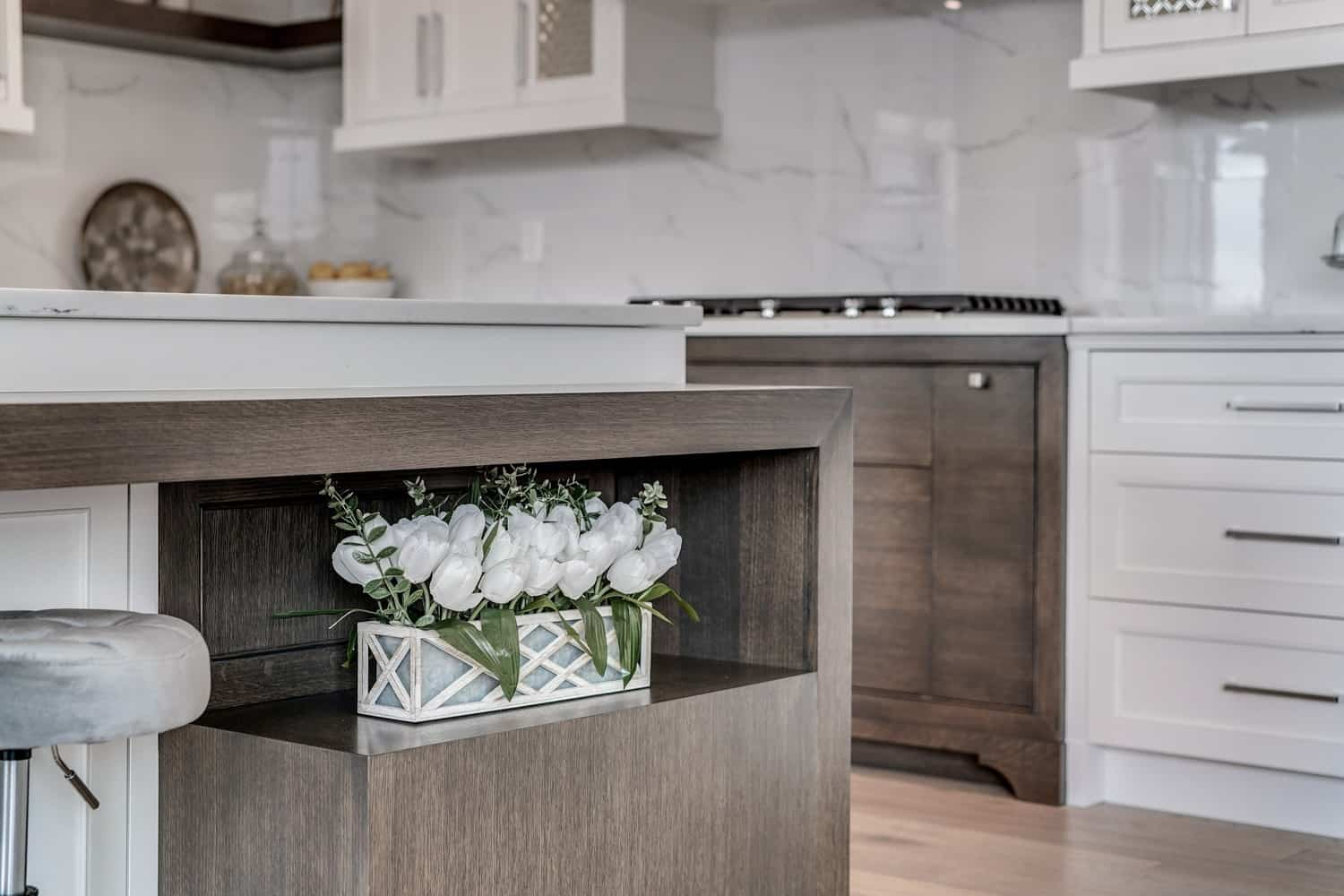 Watermark at Bearspaw kitchen island custom details