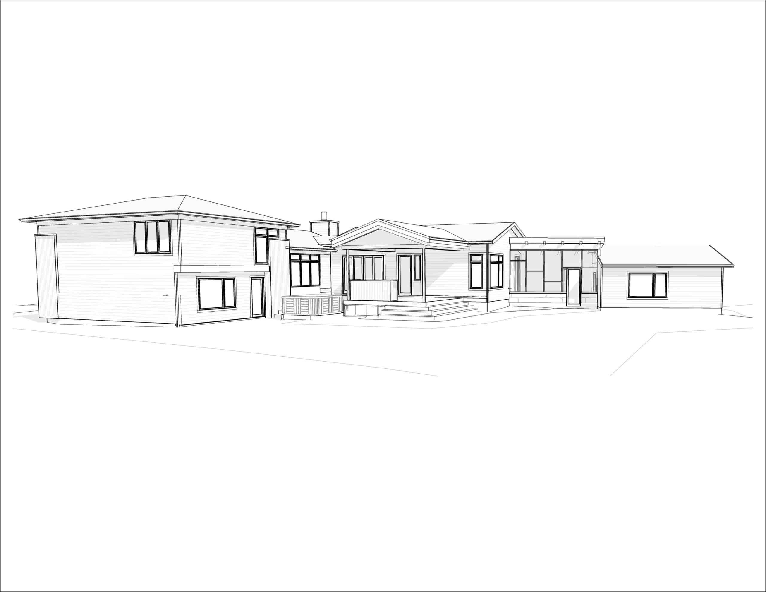 Lawson Place - Modern Renovation rear perspective design