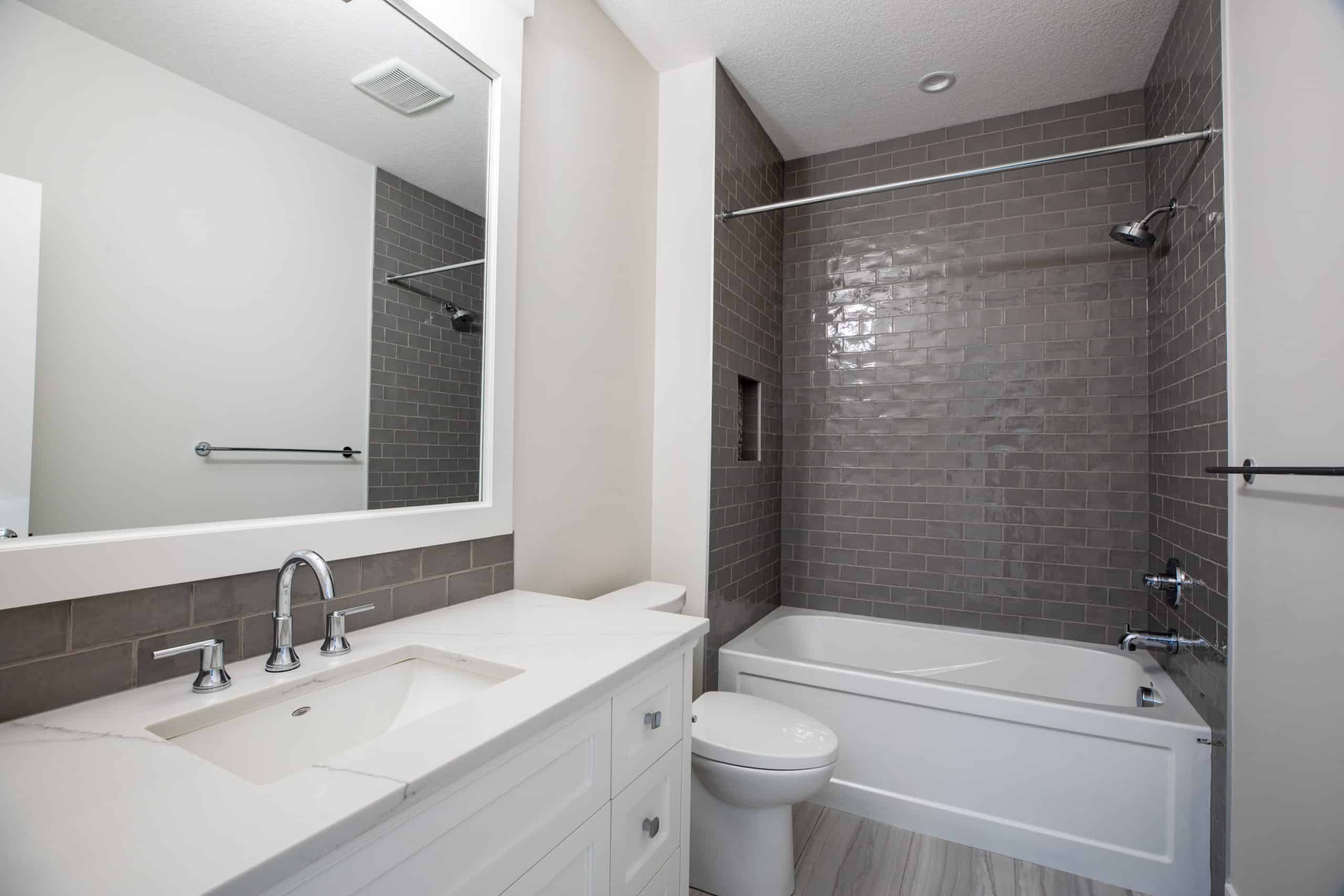 North Glenmore Park Modern Bungalow Bathroom