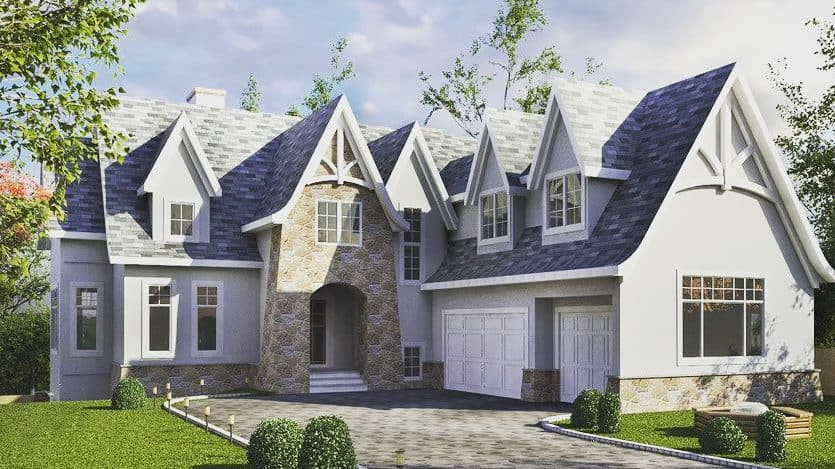 Spring Valley French Country front perspective custom luxury home
