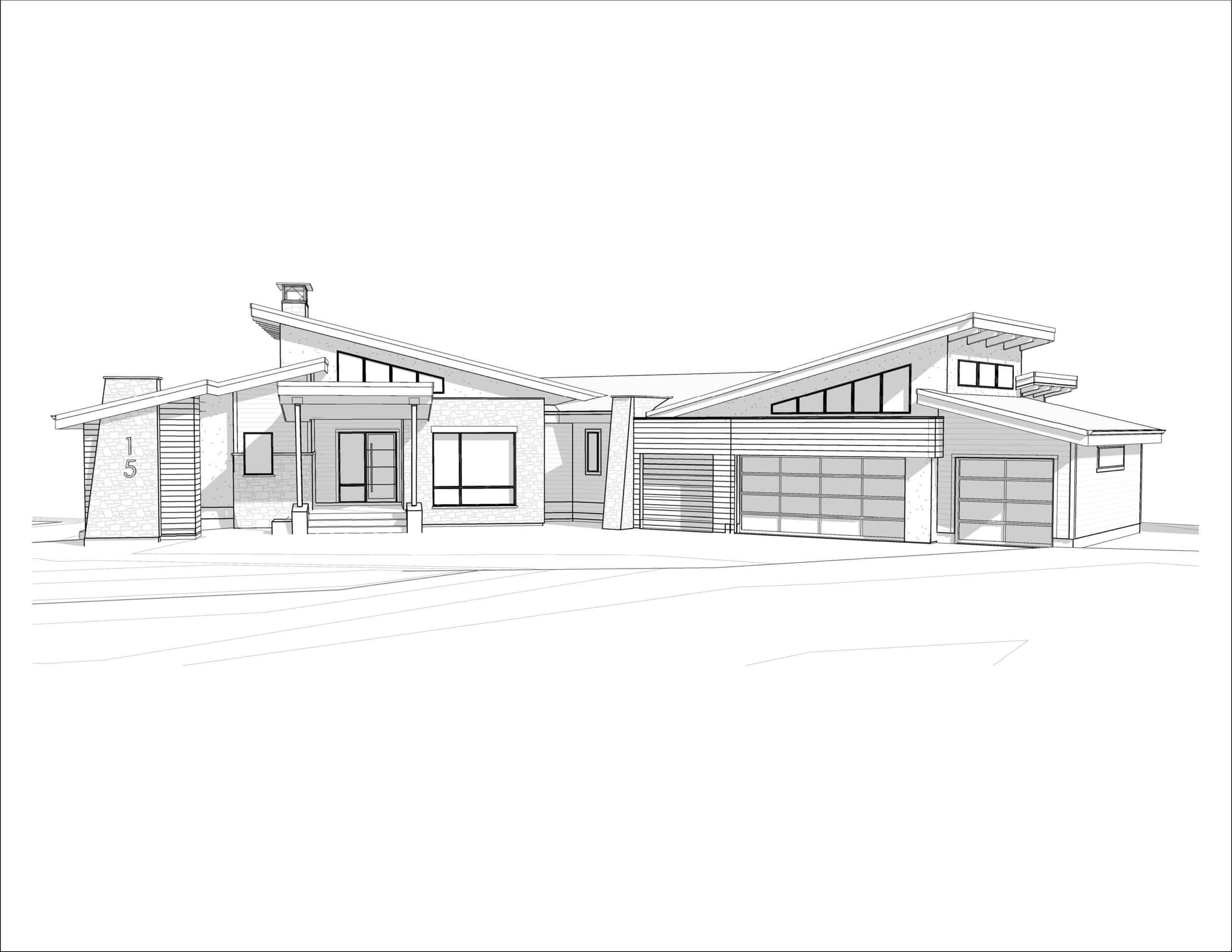 Coral View Mountain Modern Bungalow residential design