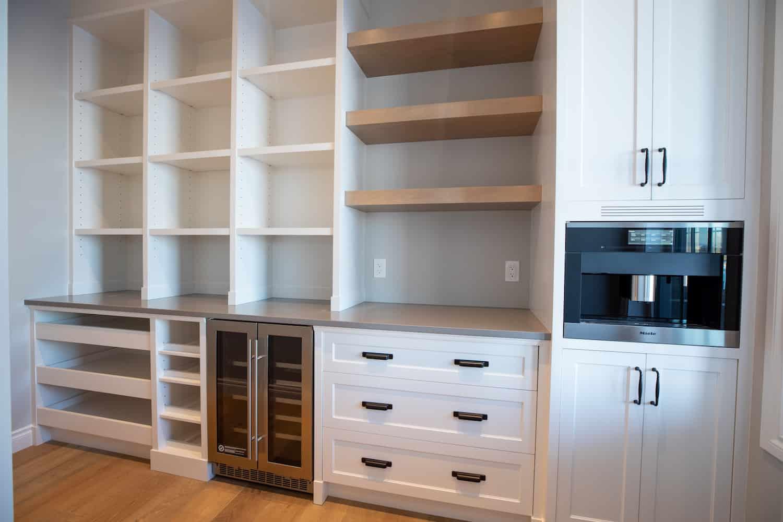 Built in coffee bar in custom kitchen