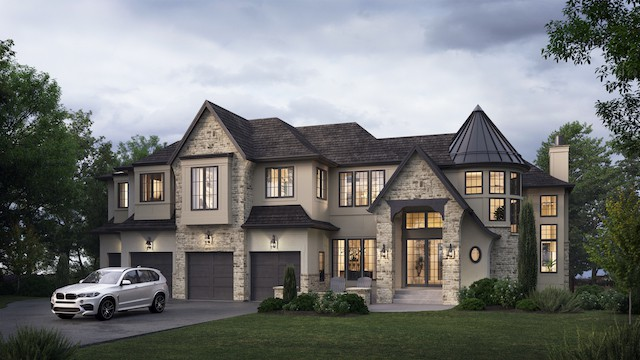 Aspen Heights French Manor Rendering luxury dream home featured
