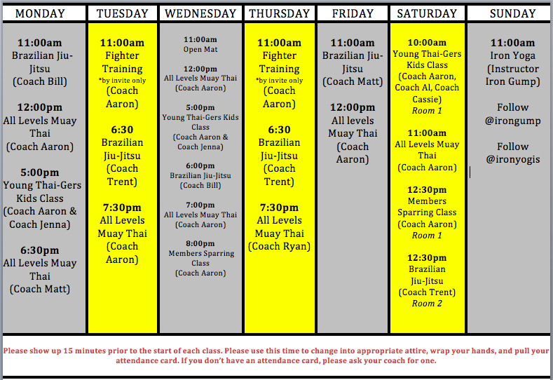 Schedule of classes green phase covid-19 muay thai bjj kettlebells strength and conditioning