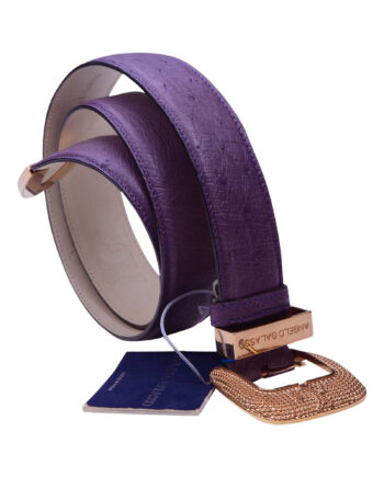 Angelo Galasso Signature Ostrich skin Palladium plated Buckle Purple Belt