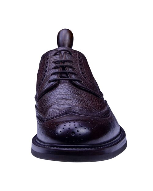 Corneliani Brown Leather Men's Wing Style Lace-up Shoes-2