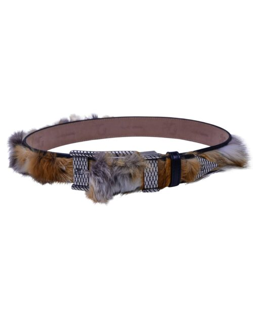 Angelo Galasso Fox Fur Palladium - plated Exclusive Leather Belt on Sale in Vancouver-2