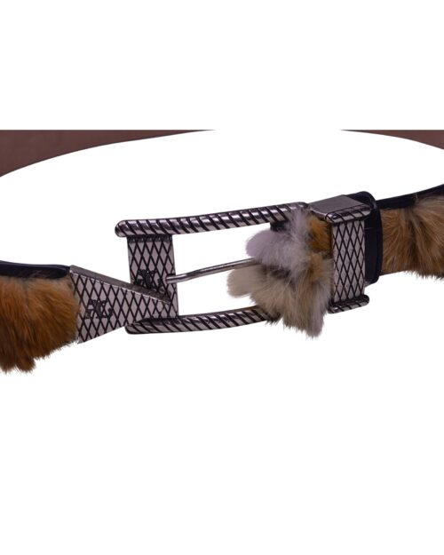 Angelo Galasso Fox Fur Palladium - plated Exclusive Leather Belt on Sale in Vancouver-3