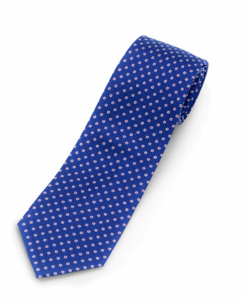 Luciano Barbera Blue red dot Striped Silk Tie