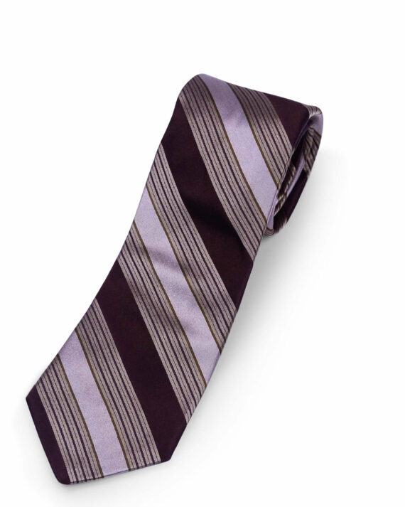 Michael Kors Brown Striped Silk Tie