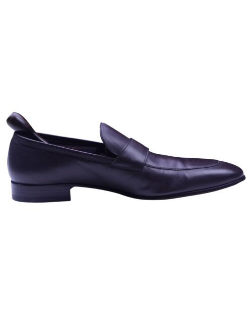 a.testoni Brown Color Calf Leather Handmade Loafer Shoe