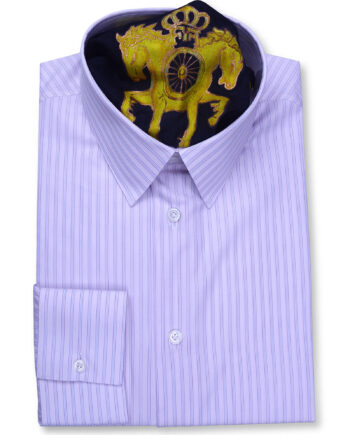 Classic Collar Tailored Fit Pink & Blue Striped Shirts