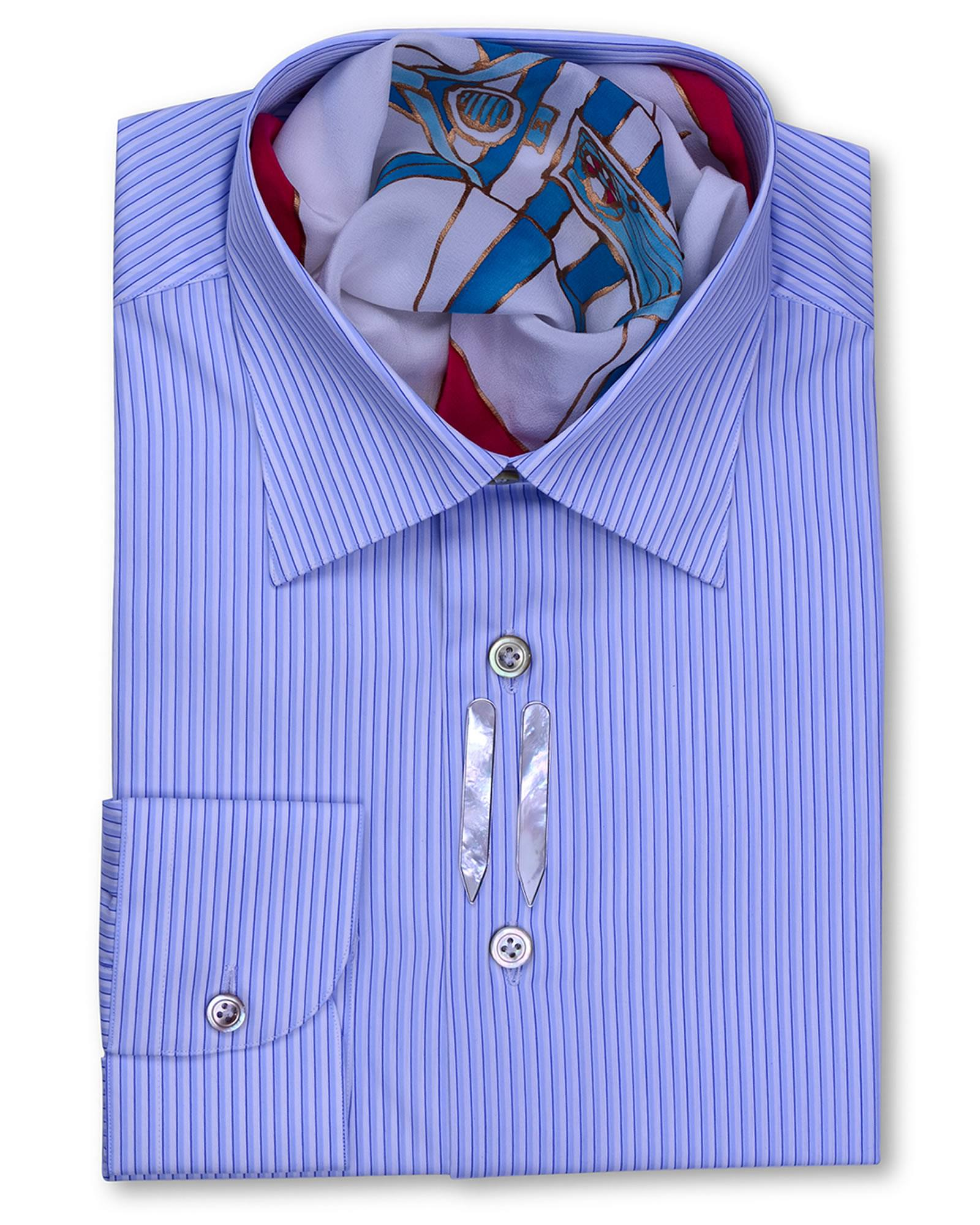 Classic Style Regular Fit Blue White Striped Dress Shirts