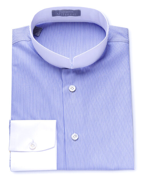 Stand Collar Blue White Striped Tailored Fit Shirt