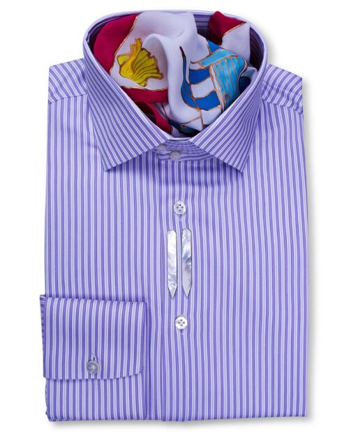 Stand Collar Tailored Fit Purple Striped Shirts