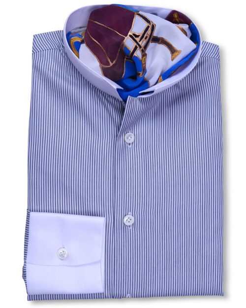 Stand Collar Grey white Striped Tailored fit Shirt