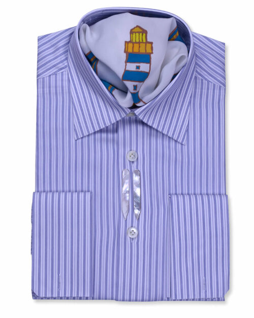 Navy Blue Striped Fancy Tailored Fit Dress shirts