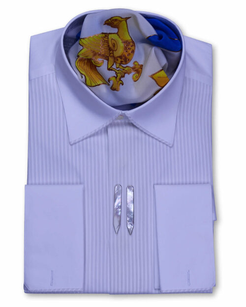 Spread Collar Tailored Fit White Ivory Tux Shirts