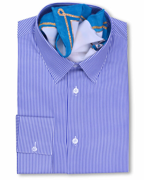Classic Collar Tailored Fit Navy blue Striped Shirts