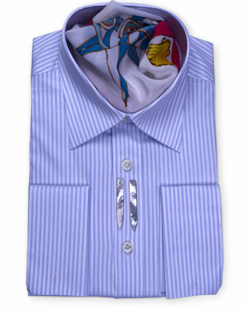 Spread Collar Tailored Fit Blue Striped Shirts