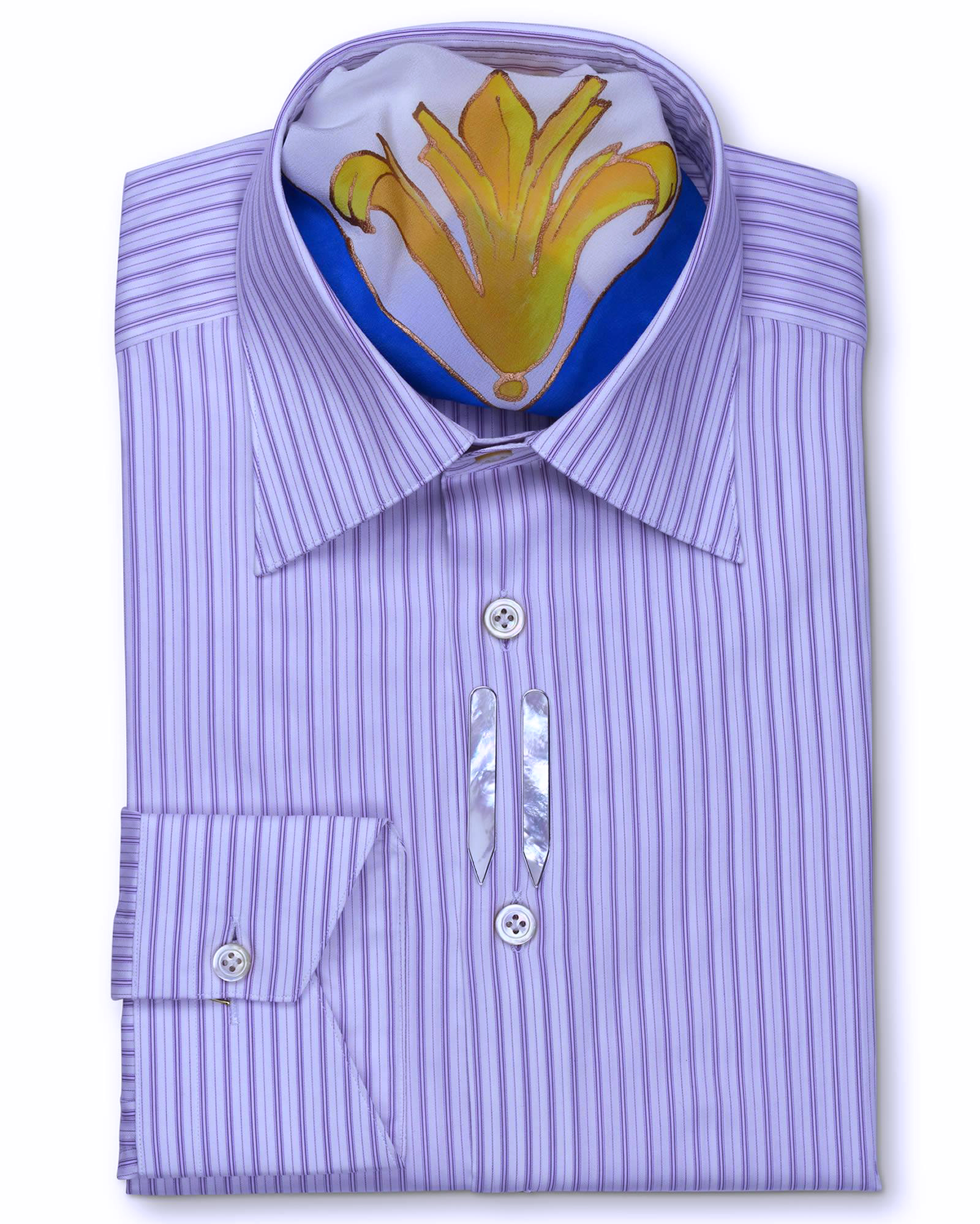 Classic Style Regular Fit Purple Striped Dress Shirts