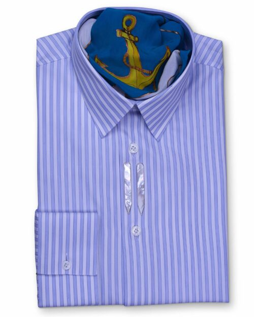 Classic Collar Tailored Fit Blue & White Striped Shirts