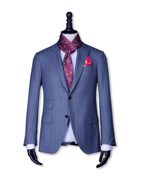 Double face Red Wine -Blue Color Silk Men's Scarf