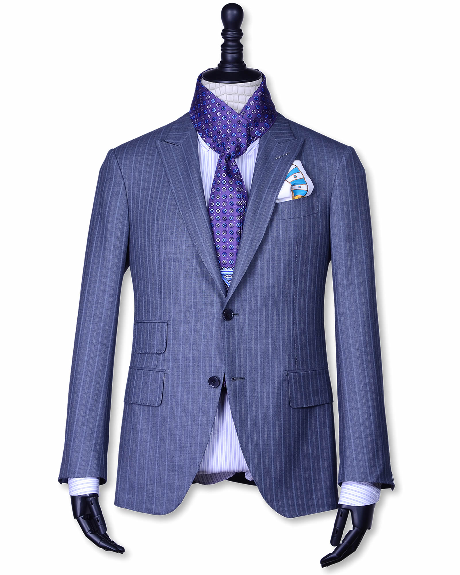 Double Face Blue-Purple and White Color Medallion Pattern Men's Silk Scarf