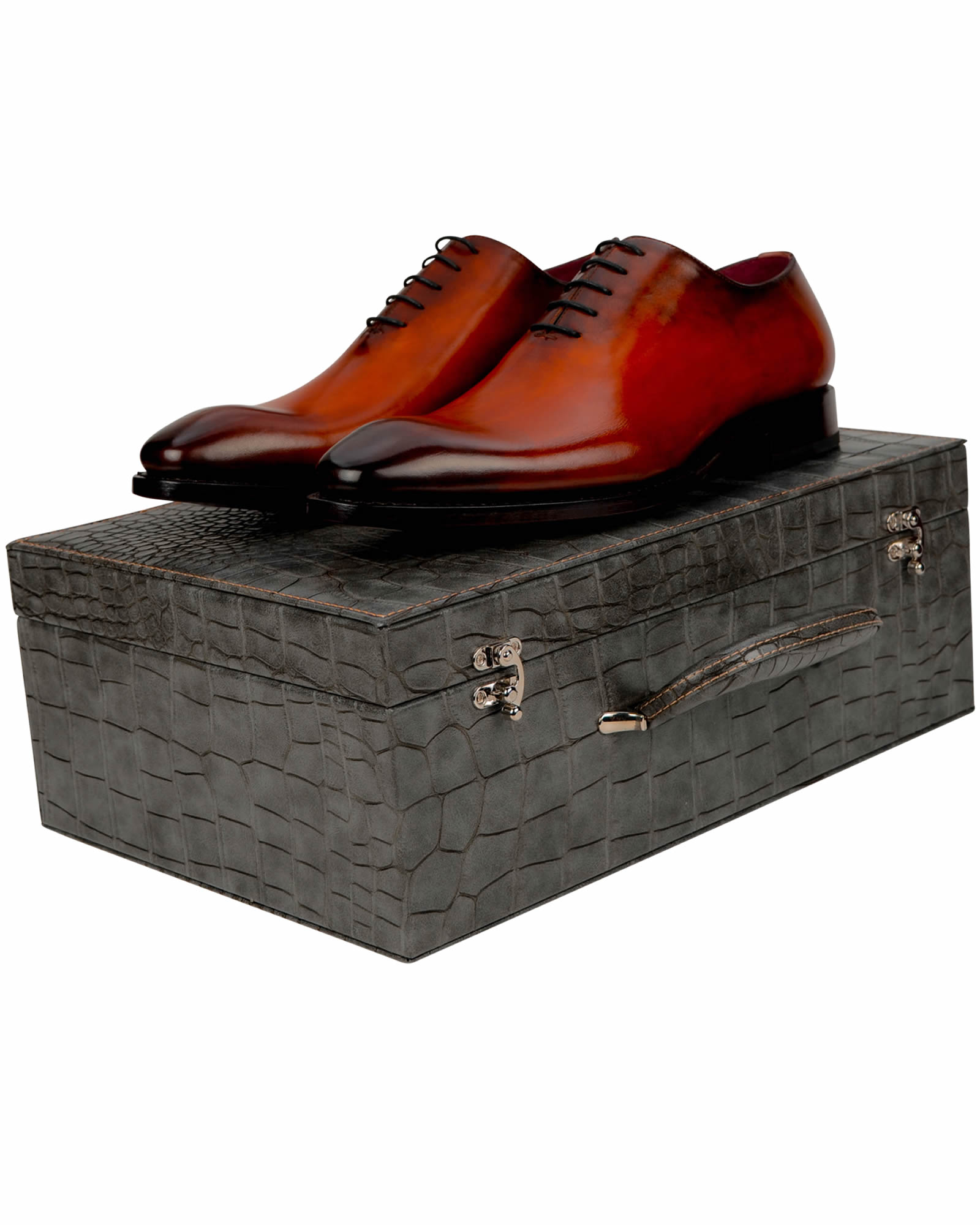 Goodyear Welted Burnished Red- Brown whole Cut Leather shoes