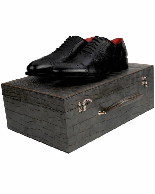 Goodyear Welted Deerskin Black Wingtip Lace-up Shoes